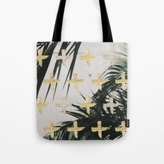 Palms with gold cross Tote Bag
