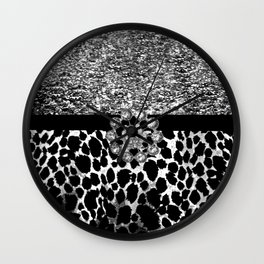 Animal Print Leopard Glam Silver and Black Diamond Wall Clock