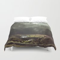 abstract art Duvet Covers featuring Foggy Forest Creek by Kevin Russ