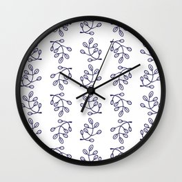Simple Botanical Pattern 2 in Delft Blue and White Wall Clock