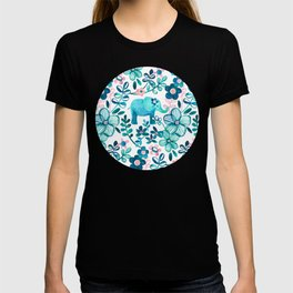 Dusty Pink, White and Teal Elephant and Floral Watercolor Pattern T-shirt