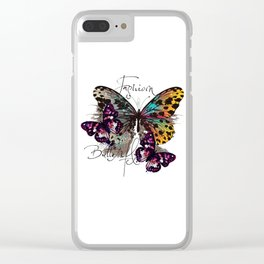 Fashion art print with colorful tropical butterly Clear iPhone Case