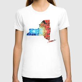 New York - Map By Sharon Cummings T-shirt