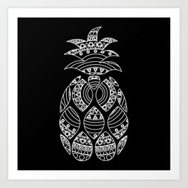 Ornate pineapple - inverted Art Print