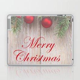 Merry Christmas Garland, Berries & Ornaments on Weathered Wood Laptop & iPad Skin