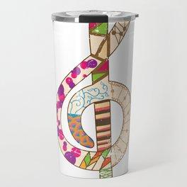 Tribal Pattern Treble Clef Travel Mug