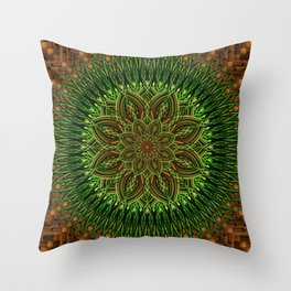 Earth Flower Mandala Throw Pillow