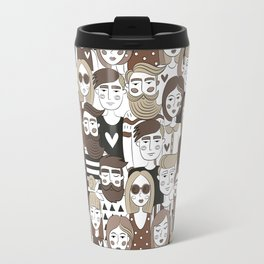 Crowd Pattern Travel Mug