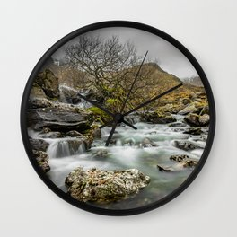 Lone Tree On The River Wall Clock