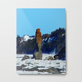 Stone Tower by the Frozen Sea Metal Print