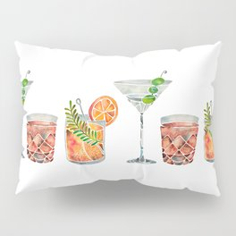 Classic Cocktails  – 1960s Watercolor Lineup Pillow Sham
