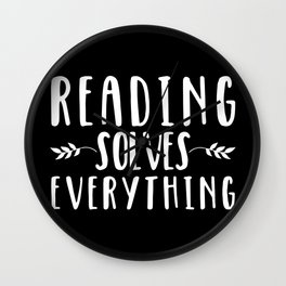 Reading Solves Everything (inverted) Wall Clock