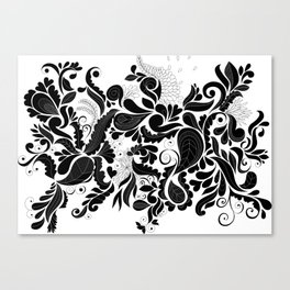 Petal Potpourri - Black Canvas Print