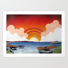 Godrevy and St. Ives Bay Art Print