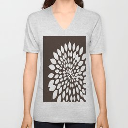 White Flower Unisex V-Neck