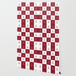 Red & White Christmas Tree Checkered Pattern Wallpaper