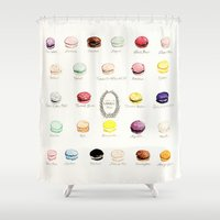 macaron Shower Curtains featuring laduree macaron menu  by Huntleigh