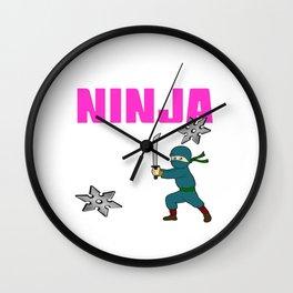 Birthday Ninja Party Samurai Ninjas Gift Japanese Ninja stars Fighter Gift 4 Wall Clock