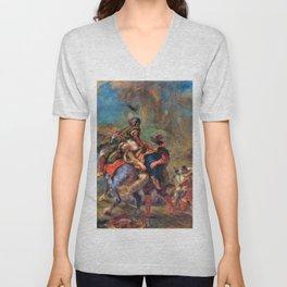 Eugene Delacroix - The Abduction Of Rebecca - Digital Remastered Edition Unisex V-Neck
