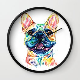 French Bulldog Watercolor Painting By Lisa Whitehouse Wall Clock
