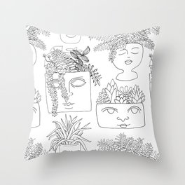 Illustrated Plant Faces in White Throw Pillow