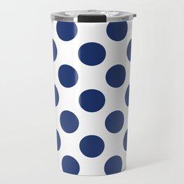 Navy Large Polka Dots Pattern Travel Mug