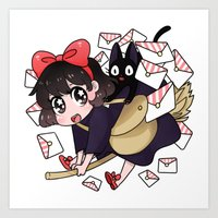 kiki Art Prints featuring Kiki by IdentityPollution