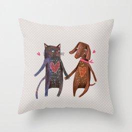 Cat-Dog Throw Pillow