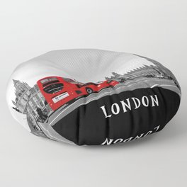 Black and White London with Red Bus Floor Pillow