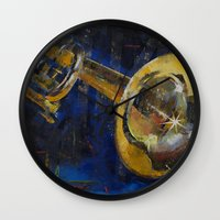 trumpet Wall Clocks featuring Trumpet by Michael Creese