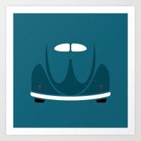 volkswagen Art Prints featuring Volkswagen Beetle by Nick Steen