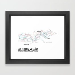 Les Trois Vallees, Savoie, France - EUR Edition (Labeled) - Minimalist Trail Art Framed Art Print