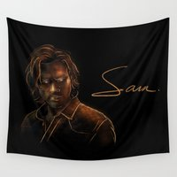 winchester Wall Tapestries featuring Sam Winchester by Sarah Sangelus