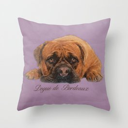 Dogue de Bordeaux Sketch Digital Art Throw Pillow