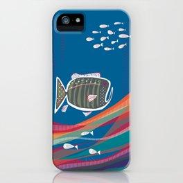 Grumpy little fish, Carlene in ocean blue sea iPhone Case