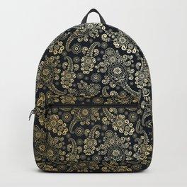 Golden Luxury Paisley on Black Background Backpack
