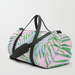 Fern Leaves Pink Duffle Bag