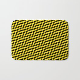 Sharkstooth Sharks Pattern Repeat in Black and Yellow Bath Mat