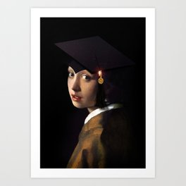 Girl with the Grad Cap Art Print