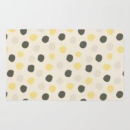 Vintage white gray yellow watercolor polka dots pattern Rug