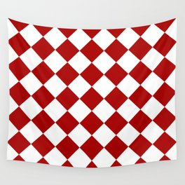 Red and white square pattern Wall Tapestry