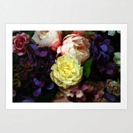 Shabby Chic Flowers Pattern Art Print