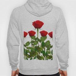 ORIGINAL GARDEN DESIGN OF RED ROSES ON WHITE Hoody