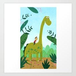 Dinosaur and Boy Art Print