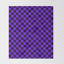 Black and Indigo Violet Checkerboard Throw Blanket