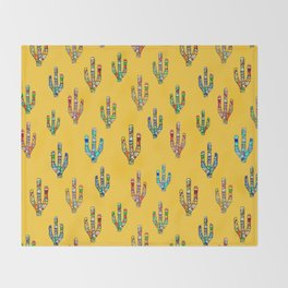 Mosaic Cacti on Yellow Throw Blanket