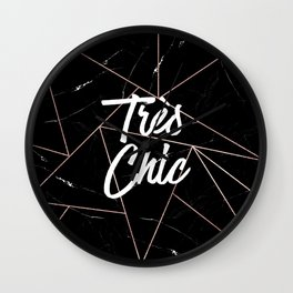Tres Chic Black Geometric Marble Gold Triangles Wall Clock