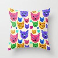 kit king Throw Pillows featuring Kit-Pix by Pruko