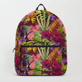 Tropical heaven dark red background  Backpack