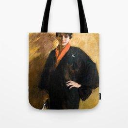 The Blue Kimono by William Merritt Chase - Vintage Victorian Retro Fine Art Oil Painting Tote Bag